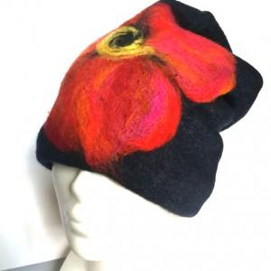 czapka wełniana filcowana czarna zimowa handmade w kwiaty na podszewce-box wir- rozmiar uniwersalny, wełniana, filcowana wełną merynosów, bardzo ciepła, fantastyczna, miła, miękko układa się