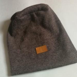 czapka damska brązowa wełniana boho etno- box 44- na podszewce, lekko rozciągliwa, obwód głowy 59-60cm, polecam