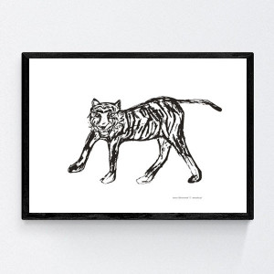 biało-czarny plakat z tygrysem, tygrys plakat na ścianę, biało-czarny obraz z tygrysem, tygrys grafika do pokoju, minimalizm dekoracja do domu