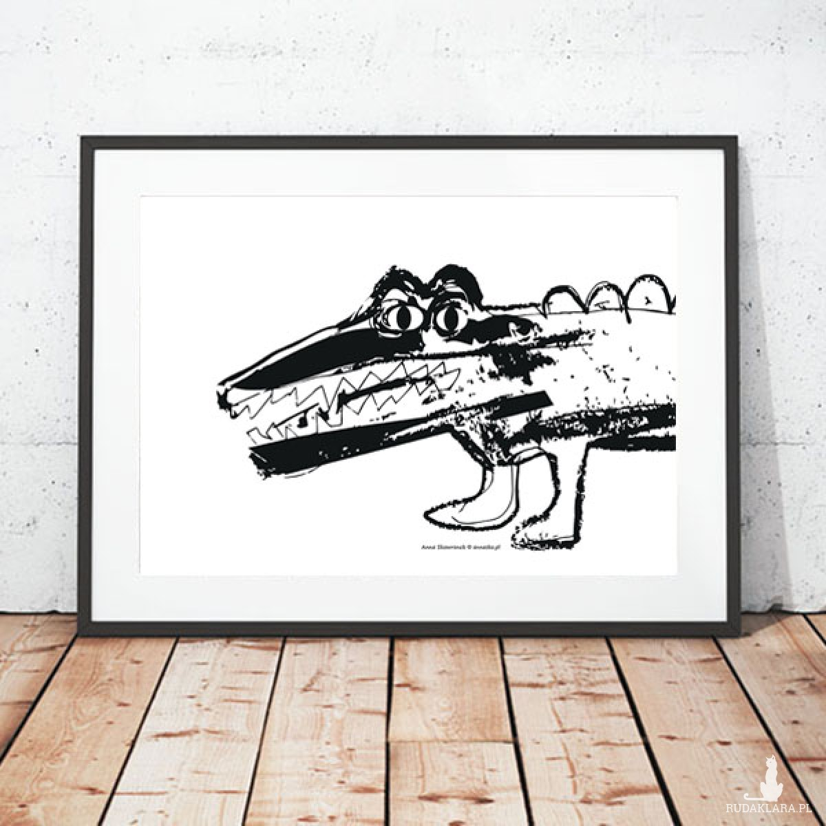 śmieszny plakat z krokodylem, krokodyl grafika na ścianę, czarno-biały plakat do pokoju chłopca