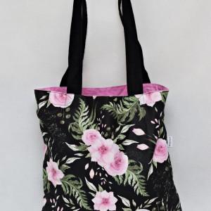 Torba na zakupy shopperka ekologiczna torba zakupowa na ramię eko siatka bawełniana in garden