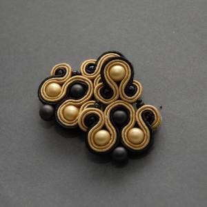 złoto-czarno kolczyki lub klipsy sutasz