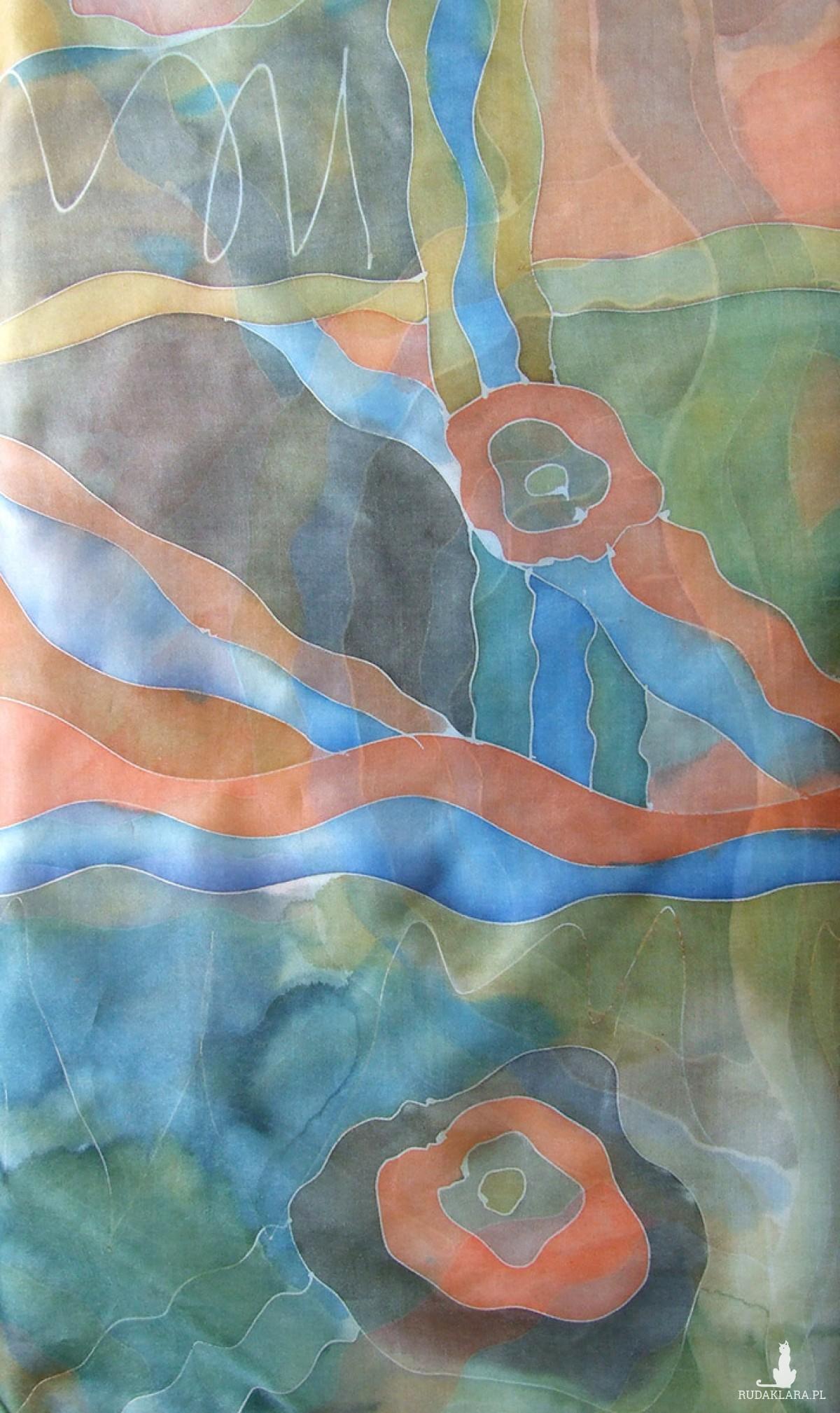 Jesienny pejzaż - chusta jedwabna ręcznie malowana