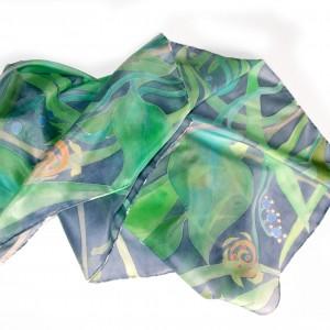 Roślinna zielono-granatowa, chusta jedwabna ręcznie malowana