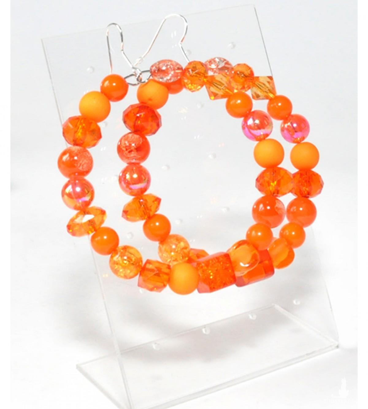4044 kolczyki duże koła 6 cm pomarańczowe