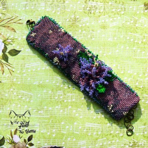 Wrzosowisko - bransoletka haft koralikowy