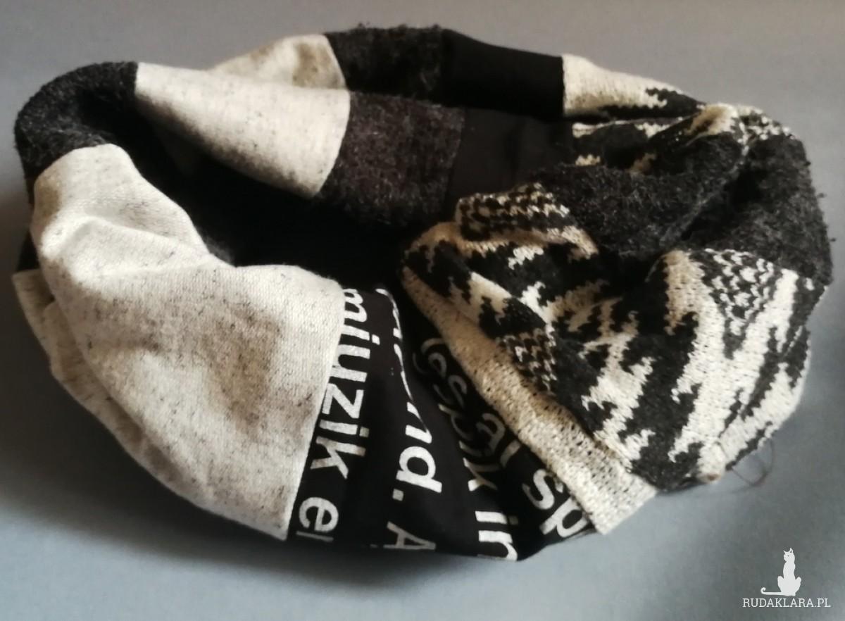 komin patchworkowy ciepły zimowy damski handmade