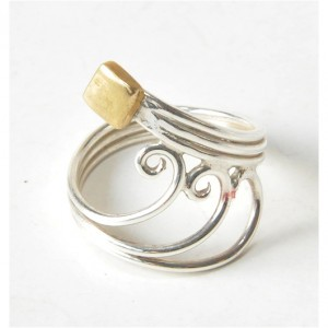 95 pierścionek vintage, srebro i mosiądz; oryginalny, przestrzenny,