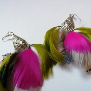 kolczyki z piórami etno boho kolorowe folk