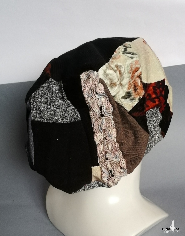 czapka etno boho patchworkowa codzienna damska handmade
