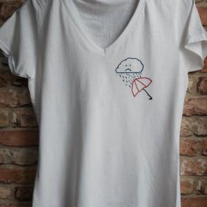 """Koszulka ręcznie haftowana, rozmiar M """"PARASOL"""""""