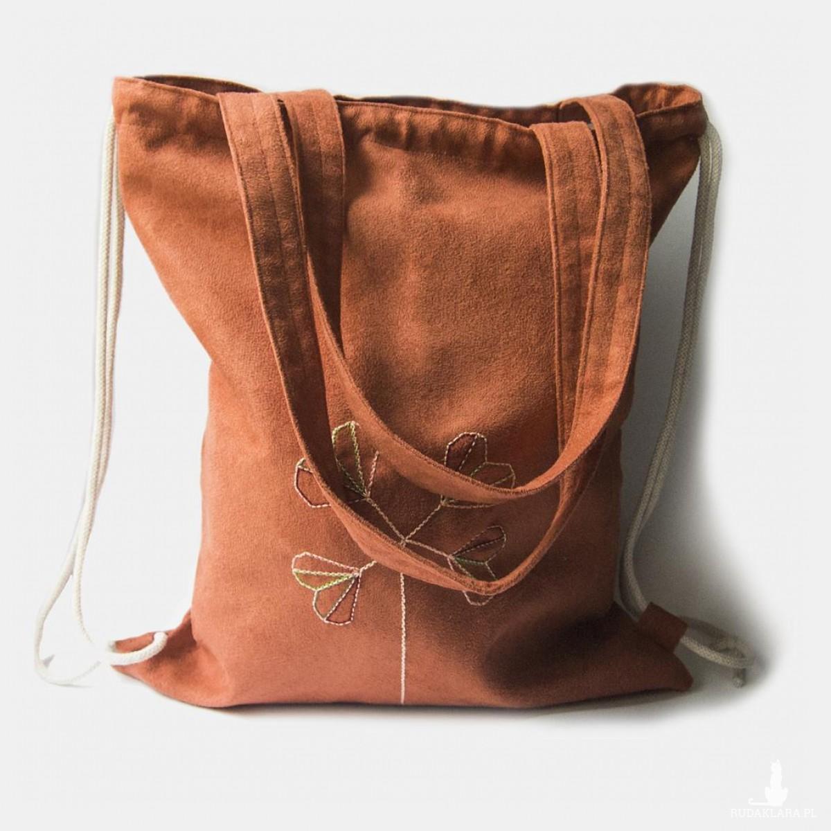 Ruda plecak torba 2w1 z delikatnym haftem