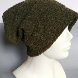 czapka damska ciemna zgniła zieleń handmade
