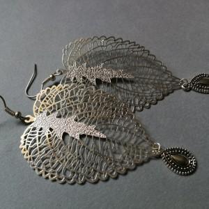 kolczyki liście ażurowe duże lekkie orient