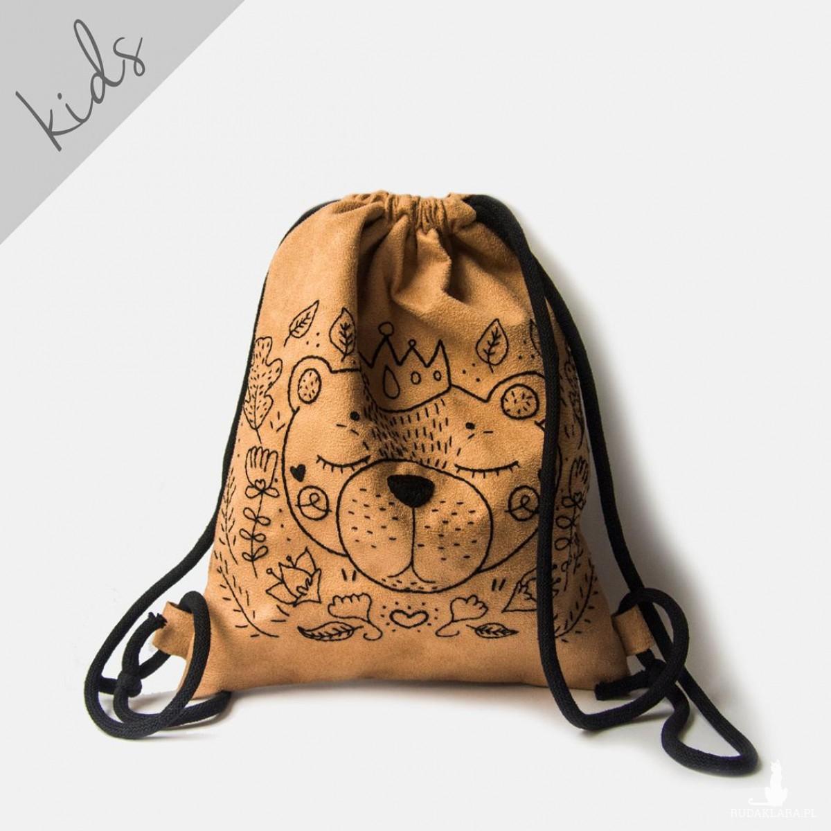 Zamszowy plecak worek dziecięcy z misiem