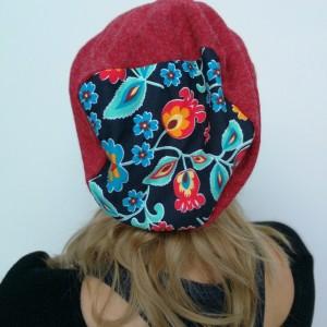 czapka damska  jesienno zimowa w kolorze bordo melanż handmade