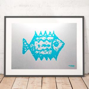 plakat z rybą, srebrna grafika z rybą, turkusowy plakat z rybką, dekoracja styl marine