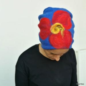czapka wełniana damska etno boho filc