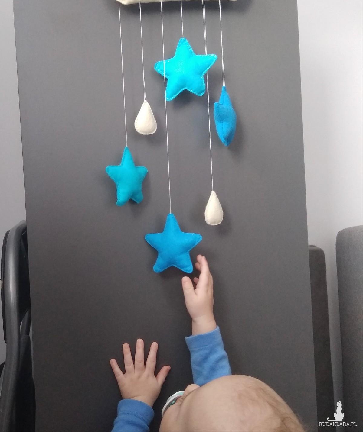Zawieszka filcowa gwiazdki niebieskie