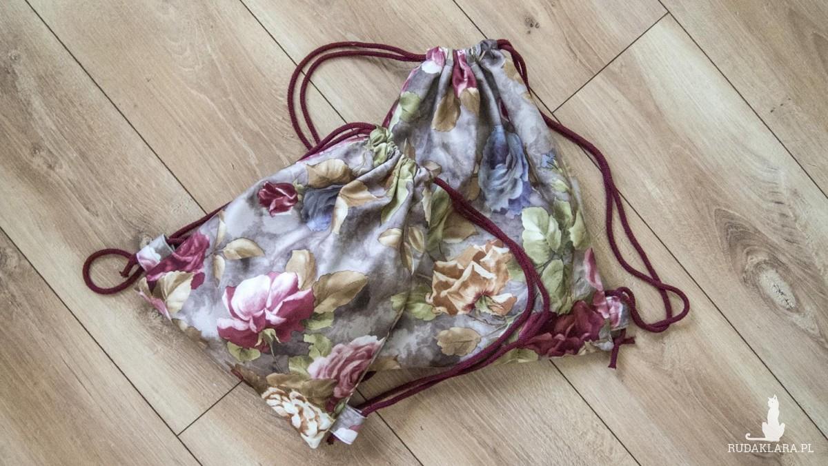Różany plecak worek dziecięcy