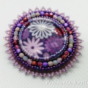 broszka kwiaty masa perłowa