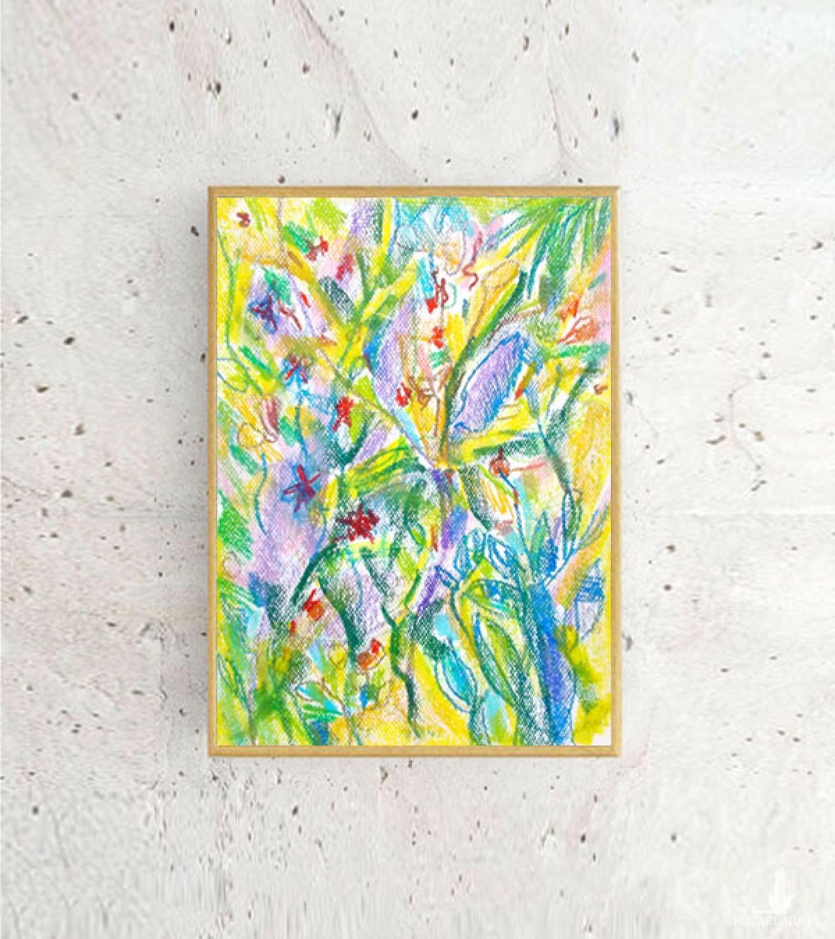 kolorowy rysunek do pokoju, dżungla obraz, rysunek do sypialni, oprawiony rysunek