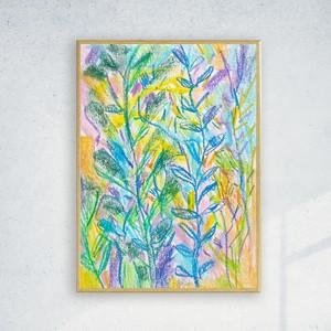 dżungla grafika na ścianę, nowoczesny obraz do sypialni, oprawiony szkic botaniczny