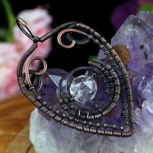 Miedziany wisior Boho z cyrkonią, ręcznie wykonany, prezent dla niej prezent dla niego, prezent urodzinowy, oryginalna biżuteria autorska