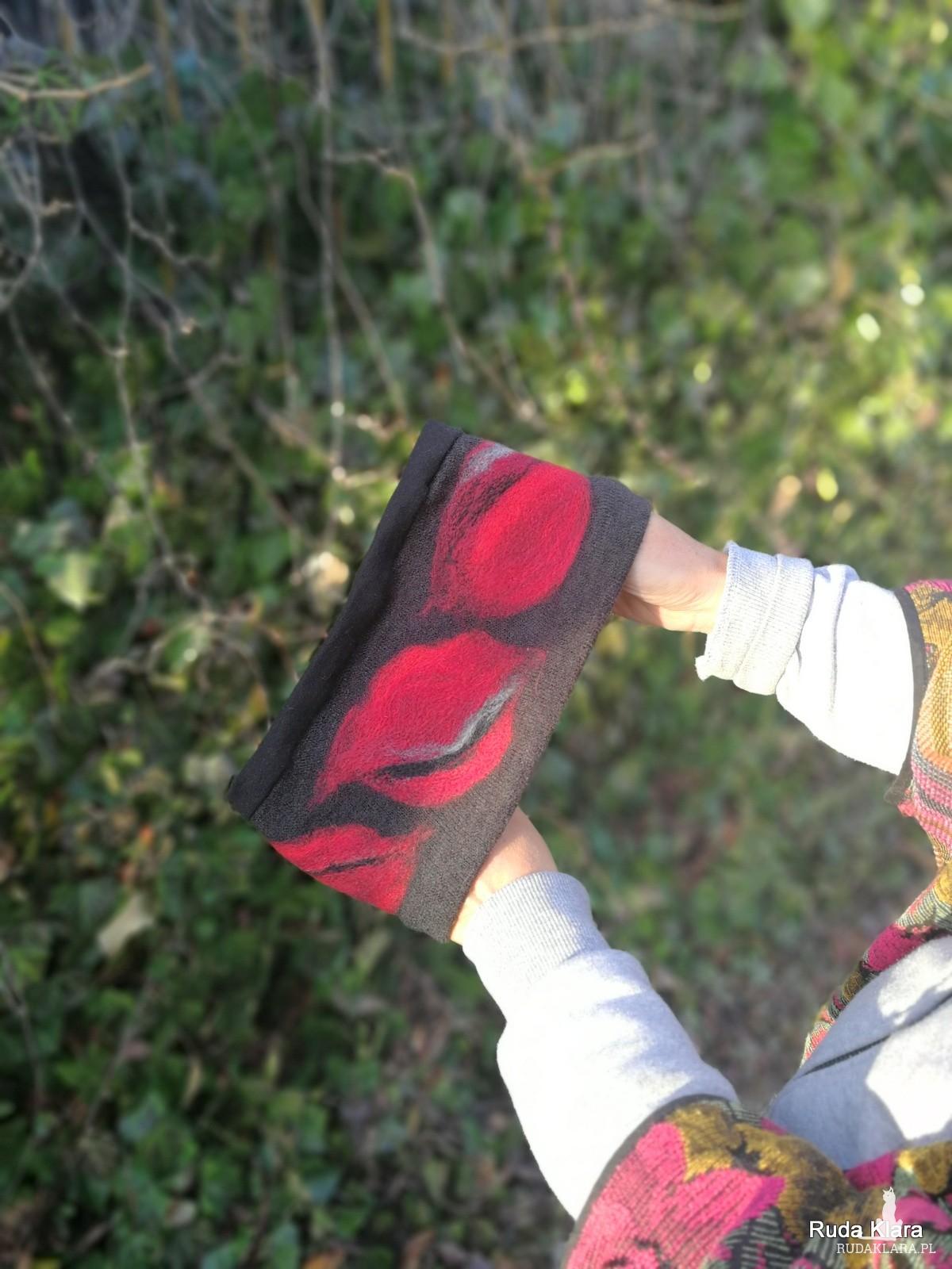 opaska wełniana filcowana damska zimowa handmade