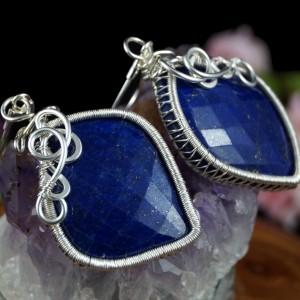 Lapis Lazuli, Srebrne kolczyki z Lapisem lazuli, ręcznie wykonany, prezent dla niej, prezent dla mamy, prezent urodzinowy biżuteria autorska