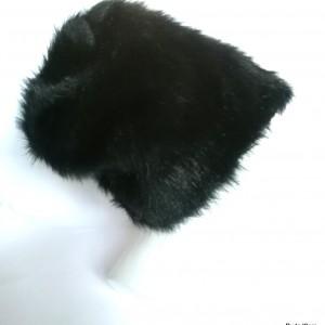 czapka damska czarna futrzana długi włos