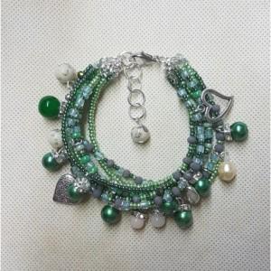 bra19-76 Bransoletka Zielona, perły szklane, koraliki szklane zielone