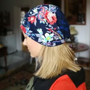 czapka w kwiaty dzianinowa etno boho codzienna handmade