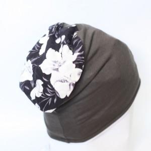 czapka damska szara w kwiaty