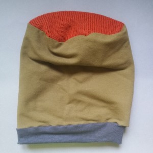 czapka etno boho zielono- szaro-ruda