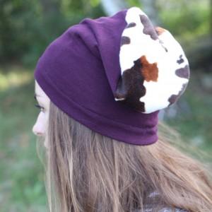 czapka damska oberzyna z krową
