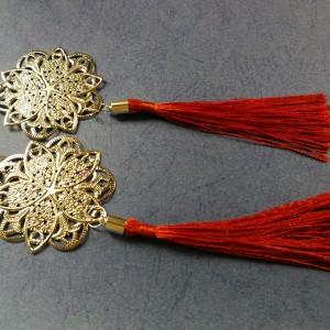klipsy etno boho długie wiszące orientalne chwosty