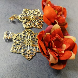 klipsy etno boho długie wiszące orientalne kwiaty