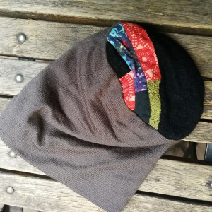 czapka zimowa szara etno boho