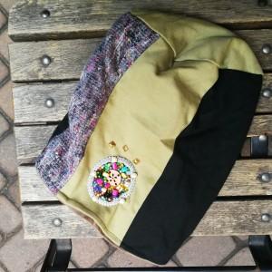 czapka damska szyta patchworkowo handmade z aplikacją w stylu boho