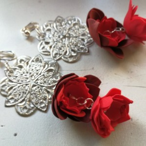 klipsy kwiatowe etno boho handmade