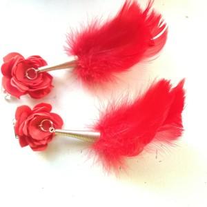 klipsy kwiaty i piór czerwone handmade
