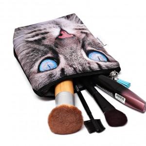 Kosmetyczka wodoodporna z kotem, kotek, szary kot mała