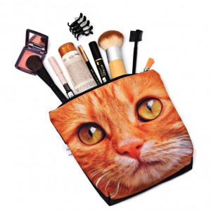 Kosmetyczka wodoodporna z kotem, kotek, rudy kot duża