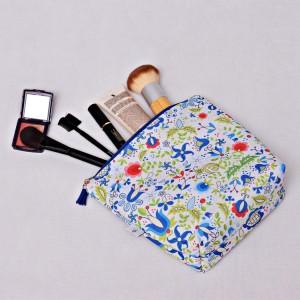 Kosmetyczka wodoodporna, saszetka do torebki kaszubska niebieska
