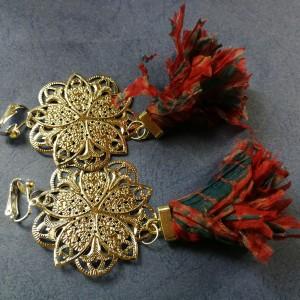 klipsy długie wiszące srebrno czerwono niebieskie handmade