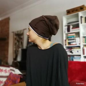 czapka damska brązowa na podszewce