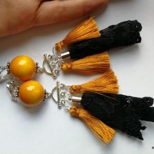 klipsy etno boho handmade wiszące długie żołte