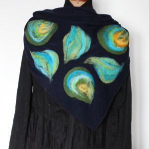 Handmade-chusta filcowana, wełną malowana