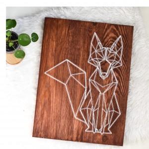 """Obraz """"Geometric design"""" Lis geometryczny skandynawski, Ciemne drewno, Sosna, String Art"""
